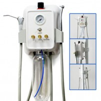 Portable Dental Turbine Unit Mount on Rack/Bracket+ Air Compressor 3-way Syringe
