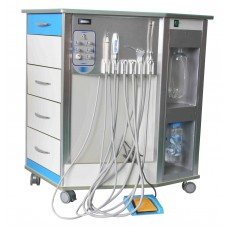 Mobile Dental Delivery Unit System All-in-One+Air Compressor+Cabinet+Drawer 4/2H