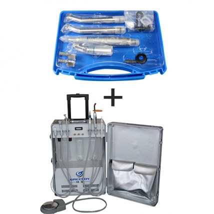 Greeloy® Dental Portable Unit with Air Compressor Suction GU-P206 + 1 NSK Handpiece Unit