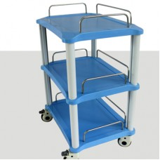 Dental Instrument Cart 3 Trays ABS Blue Rolling Trolley Cart YA50