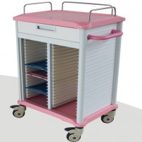 Mobile Dental Records Cabinets Medical Lab Use Pink Rolling Trolley Cart BB20R