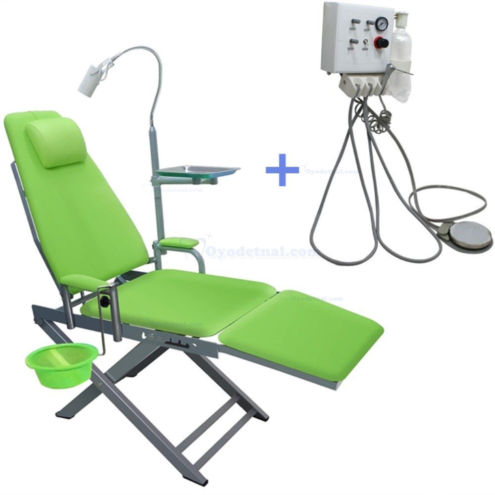 Portable Dental Mobile Chair With Led Lamp Waste Basin Turbine Unit